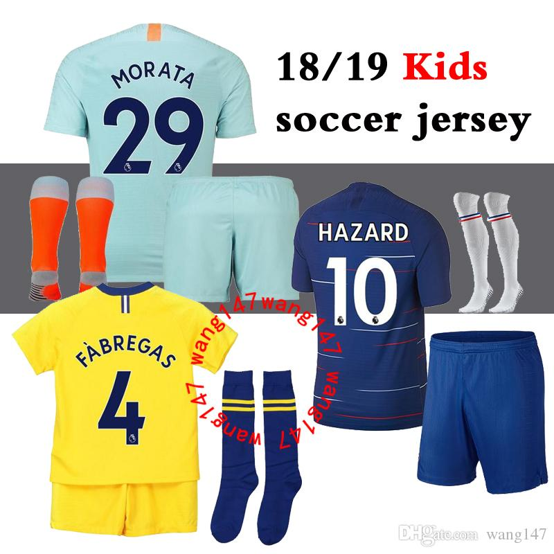 ad0925b803 Compre 18 19 Kits Para Niños + Camisetas Chelsea De Fútbol Calcetines 2018  2019 MORATA Hazard GIROUD DAVID LUIZ Camiseta De Fútbol Jersey BAKAYOKO  RUDIGER ...