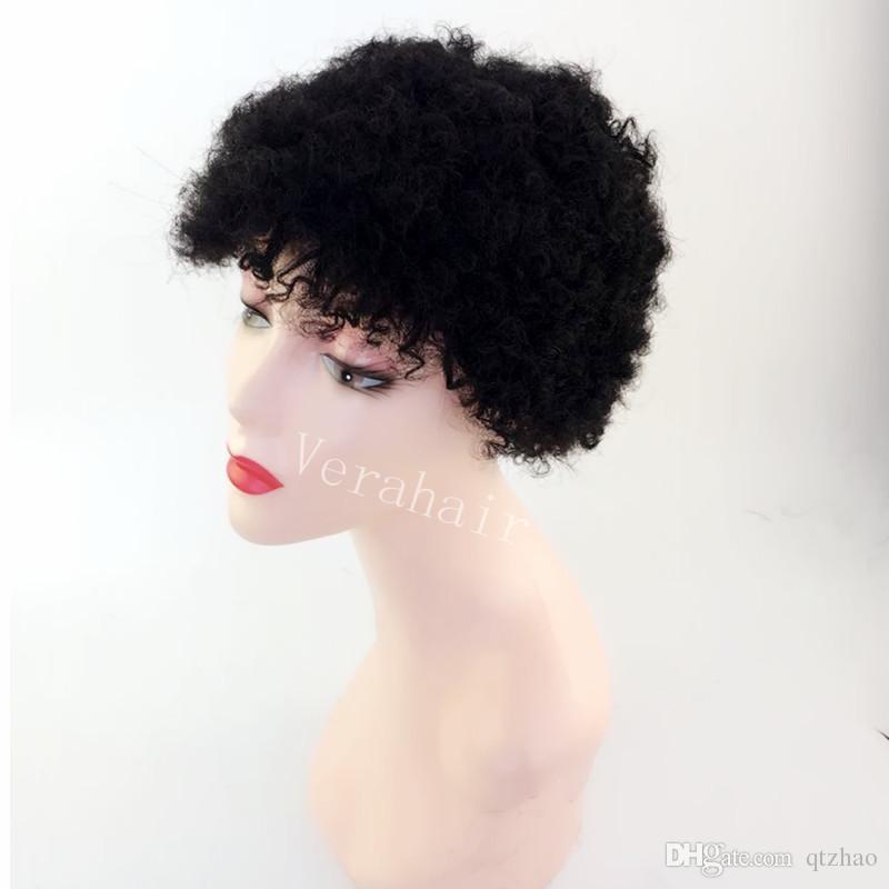 Sıkı Ünlü Ucuz Çok Kısa Afro Kinky Kıvırcık Ünlü İnsan Saç Peruk Brezilyalı Saç Doğal Siyah İnsan Yok Dantel Guleless Peruk