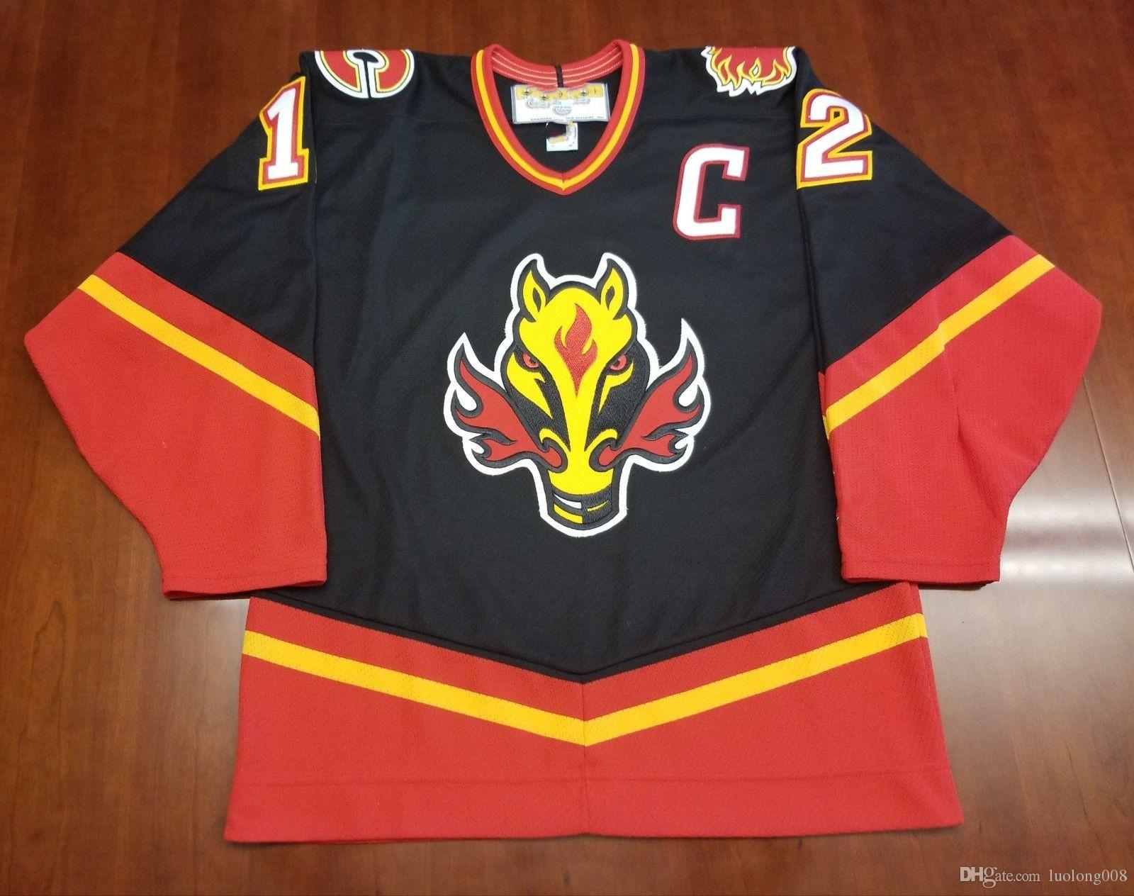 huge discount 7f509 cfb8a Vintage Calgary Flames #12 Jarome Iginla Hockey Jersey Embroidery Stitched  Customize any number and name Jerseys