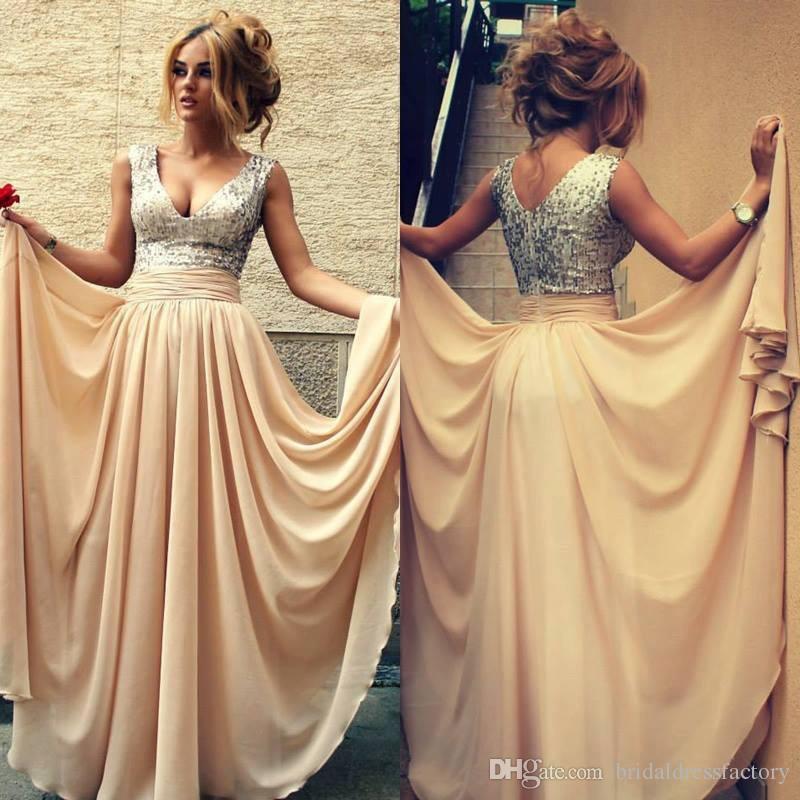 5aa0c3c5e5 2018 Custom Made Vestidos De Renda Sexy Champagne With Sequins V Neck Long  Prom Dresses Women Evening Dresses Chiffon VC 159 Perfect Prom Dress Pink  Evening ...