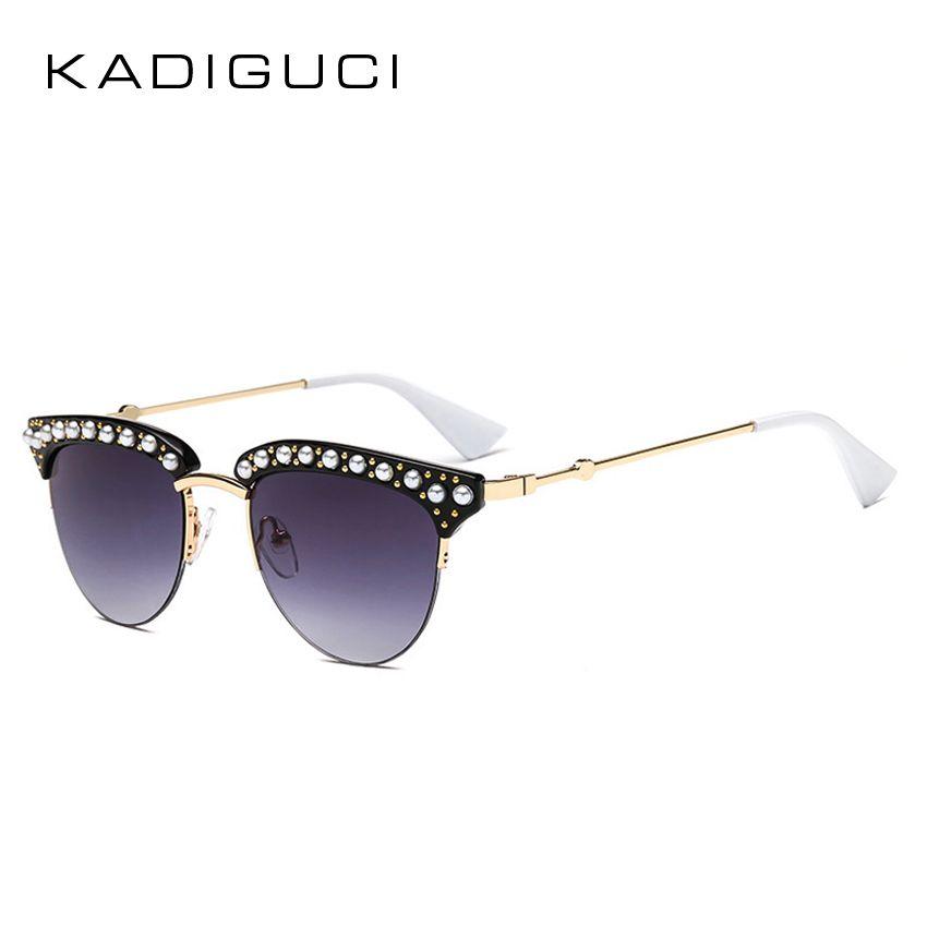 eeea345a25f KADIGUCI Fashion Pearl Round Semi Rimless Sunglasses Women Luxury ...