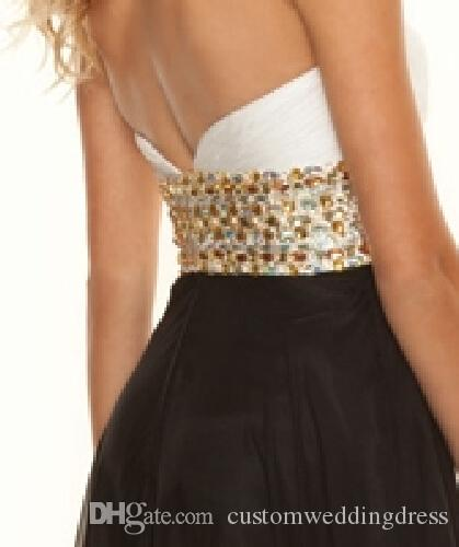 2018 New Chiffon With Gold Beading Long Black and White Prom Dress Empire Evening Gowns Sweetheart vestidos de festa