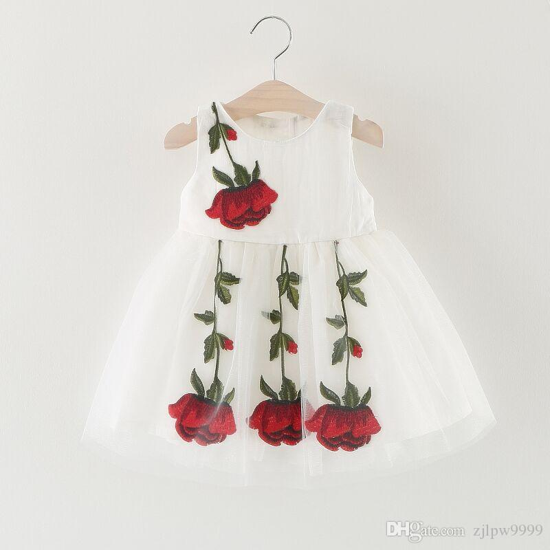 Baby Girls Dress Lace Sleeve Kids Shirts Dress For Girls Rose Embroidery Children Clothing 2018 Fashion Girls Floral Dress