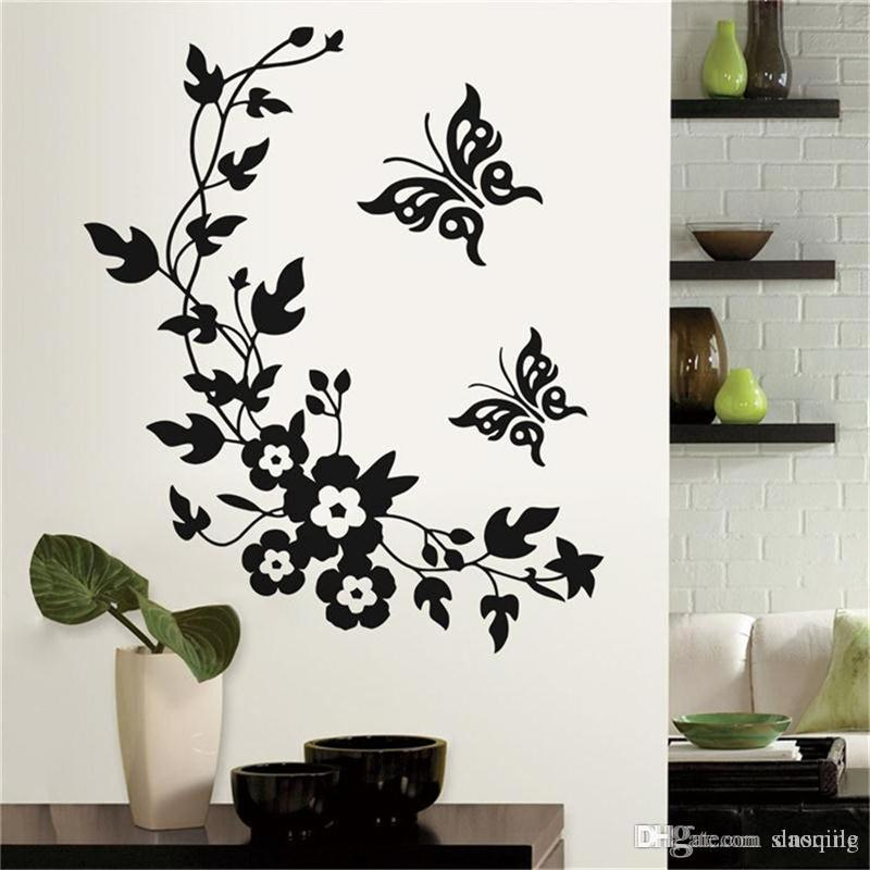 wholesale black classic butterfly flower wall stickers home wedding
