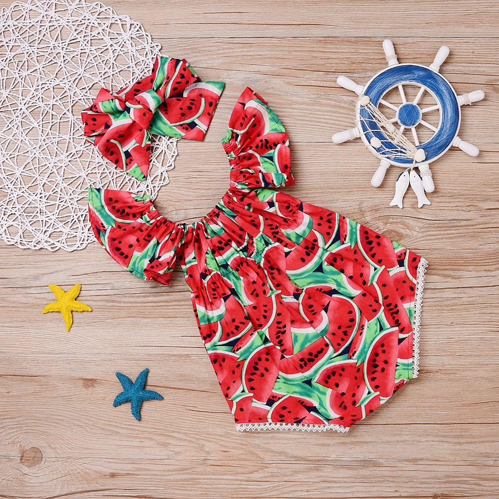 Rompers Newborn Baby Girls Clothes Watermelon print short sleeve round neck Bodysuit Bowknot Headband cotton casual summer set