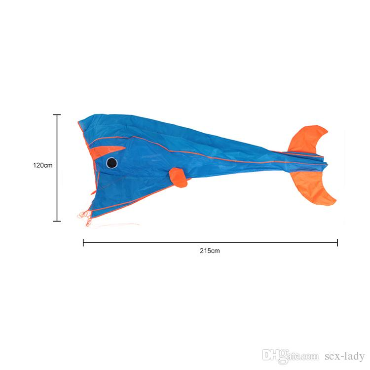 200x215cm 3D Parafoil Dolphin Kite with Flying Tools Outdoor Fun Square Beach Flying Toy Cute Big Dolphin Kite Easy to Fly