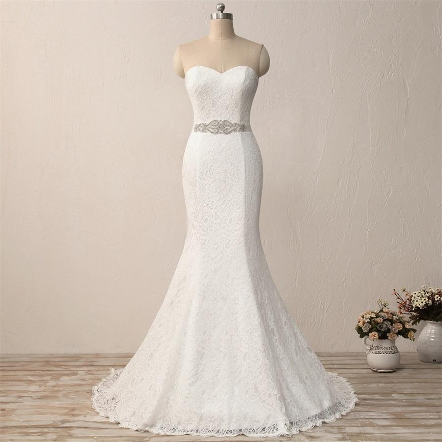 Women's Strapless Bridal Gown Mermaid Lace Wedding Dresses
