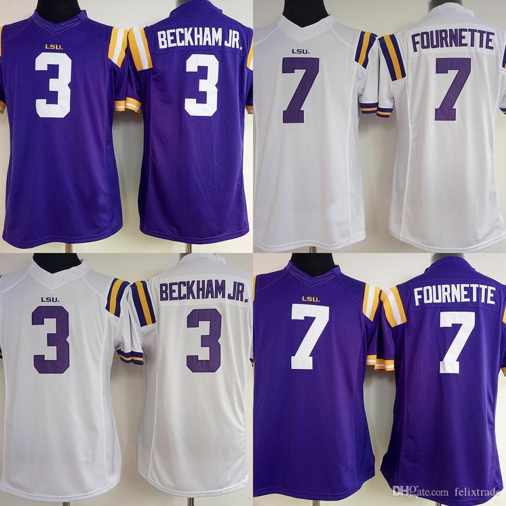 new styles 3d276 4af49 Womens LSU Tigers College Jerseys#3 Odell Beckham Jr. 7 Leonard Fournette  NCAA College Football Jersey White Purple