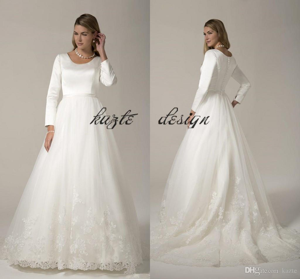 c43790b6bfcc Discount Country Modest Wedding Dresses Long With Long Sleeves Satin Tulel Skirt  Lace Appliques Jewel Buttons Back Bridal Gowns Temple Wedding Dress Stores  ...