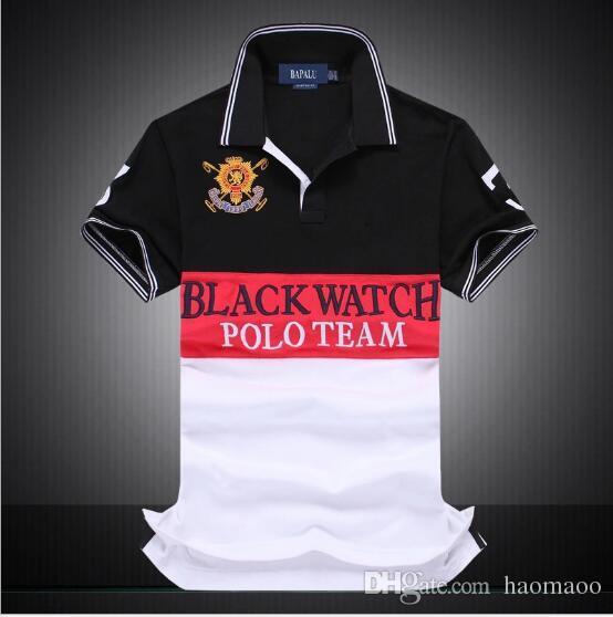Marca Designer-men Short Sleeve T shirt Marca polo camisa hombres Dropship Barato mejor calidad reloj negro polo team # 1419 envío gratis