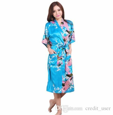 8b700cb403 Plus Size XXXL Blue Chinese Female Silk Rayon Robe Kimono Night Gown ...