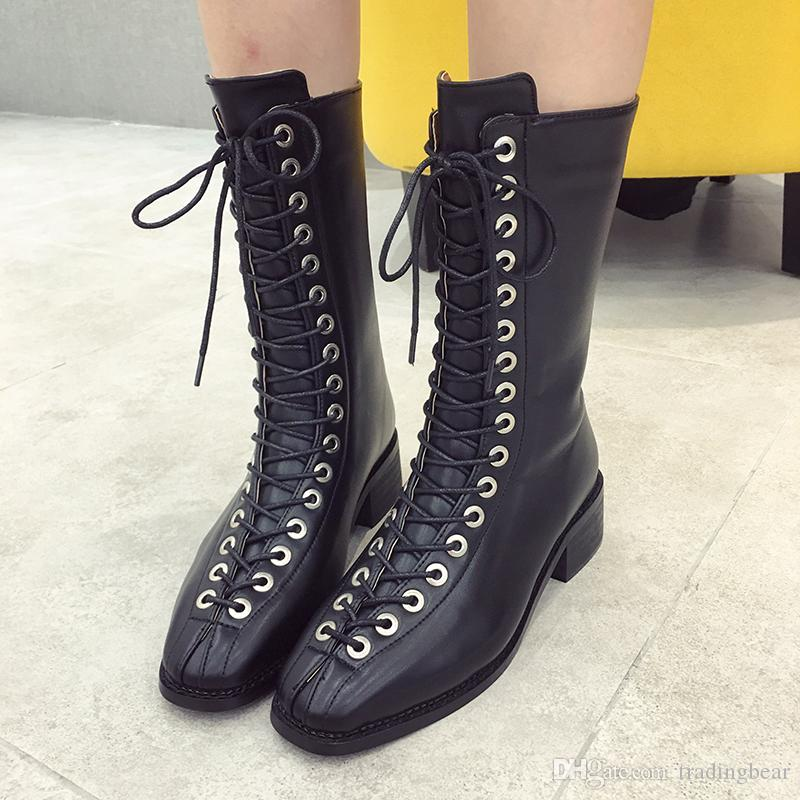 9537ce5270a04 Super Star Fashion Women Pointed Toe Lace Up Knight Boots Mid Calf Boots  Size 35 To 39 Boots Shoes Ankle Boots For Women From Tradingbear, $38.08   DHgate.