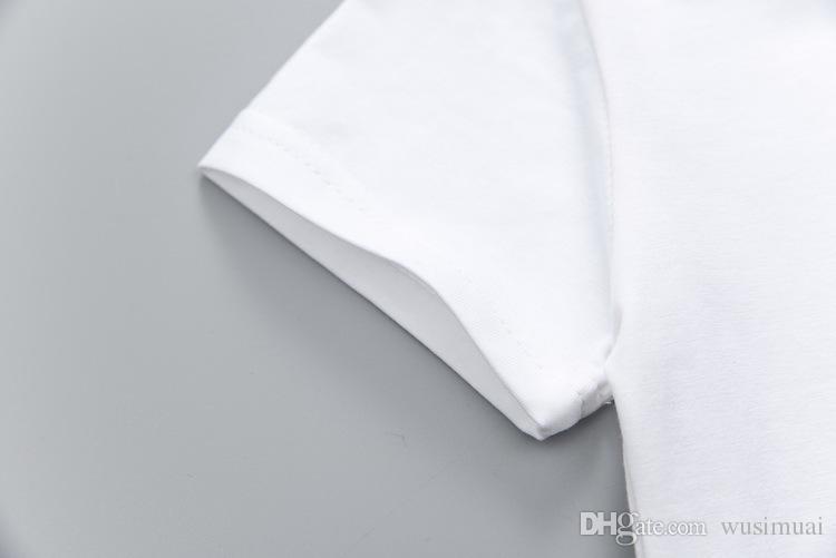 Sevimli Tavşan Baskı Beyaz T-shirt + Çizgili Önlük Iki Parçalı Set Erkek Bebek Kız Elbise Setleri çocuk Günü Hediyesi Toptan Ço ...