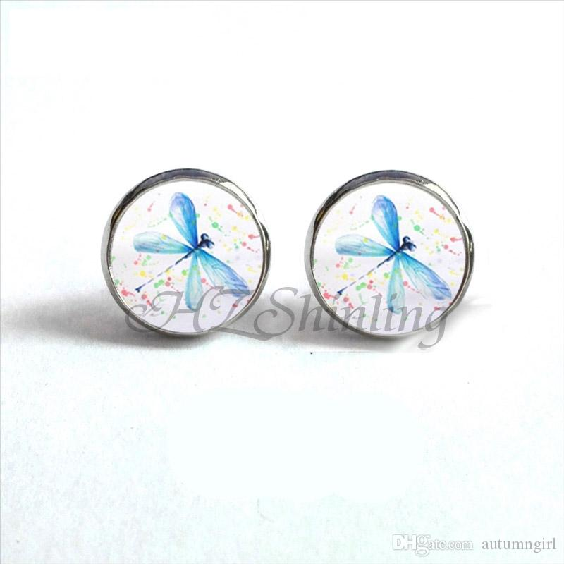 1ab177e49 2019 ED 0049 New Arrival Dragonfly Art Earrings Abstract Dragonflies  Painting Stud Earring Glass Dome Jewelry Hand Craft Insect Studs From  Autumngirl, ...