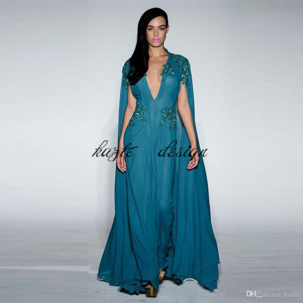 Teal Blue A Line Chiffon Evening Dresses V Neck With Cape Formal Prom Dress Lace Appliques Sequin Red Carpet Gowns