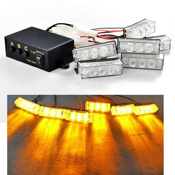 DHL 20PCS Yellow 18 LED Amber Strobe Dash Flashing Warning Light For Car Truck Vehicle 12V Flash Strobe Emergency Light (Size: 1)