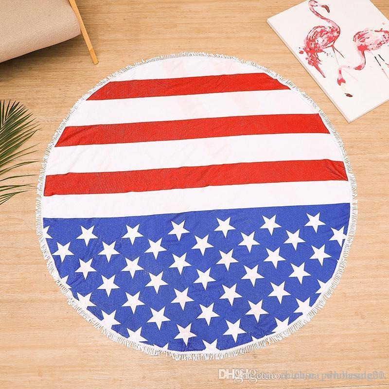 cb46a3b401917 4th Of July Round Beach Towel Polyester Yoga Blanket Mat American Flag  Flamingo Softball Round Tassels Bikini Cover Up Carpet Tile Designs High  End Carpet ...