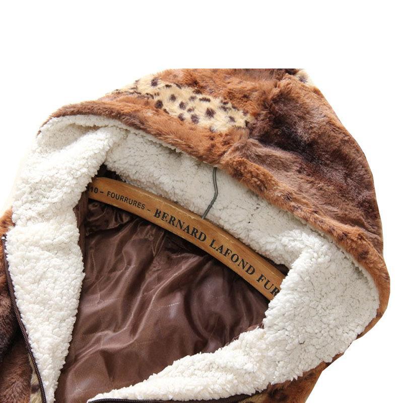 Yeni Sonbahar Kış Bayan Sahte Kürk yelek kadın Kapşonlu Leopar Uzun Yelek Sentetik Kürk Kolsuz Ceket Dış Giyim