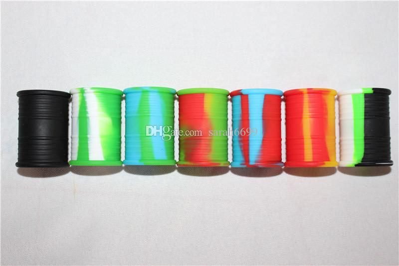 Contenedores de cera antiadherente 11ml forma de tambor de aceite recipiente de silicona tarros de grado alimenticio herramienta dab tarro de almacenamiento titular de aceite para vaporizador vape