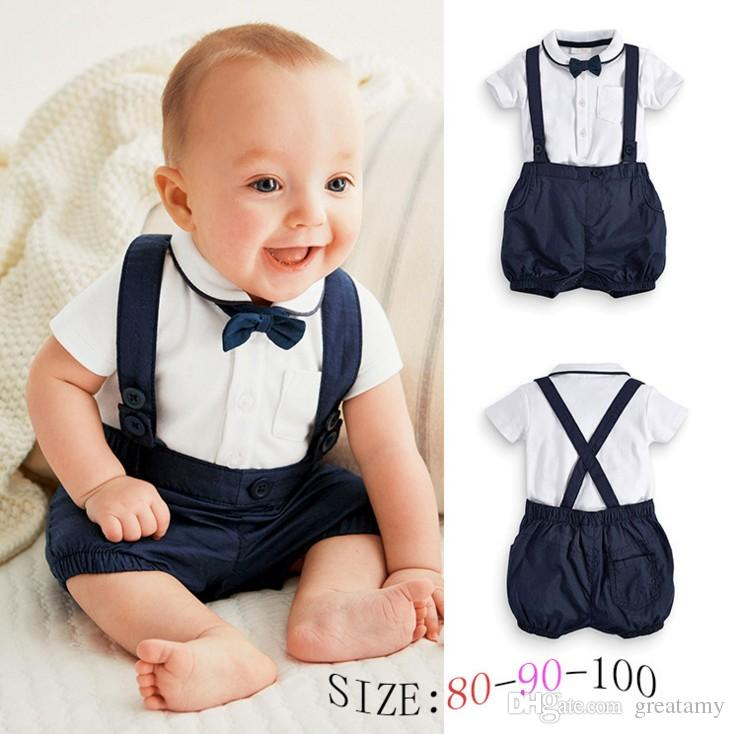 9920def4af57f 2019 Newborn Baby Boy Outfits Adorable Cotton T Shirt And Overalls Set For Sizes  0 24 Months Baby T Shirt+Short Suit Great Gift For Baby From Greatamy