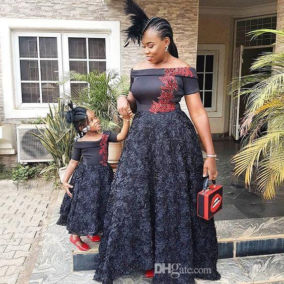 f539c077d African Style Black Off The Shoulder Party Dresses Kids Lace ...