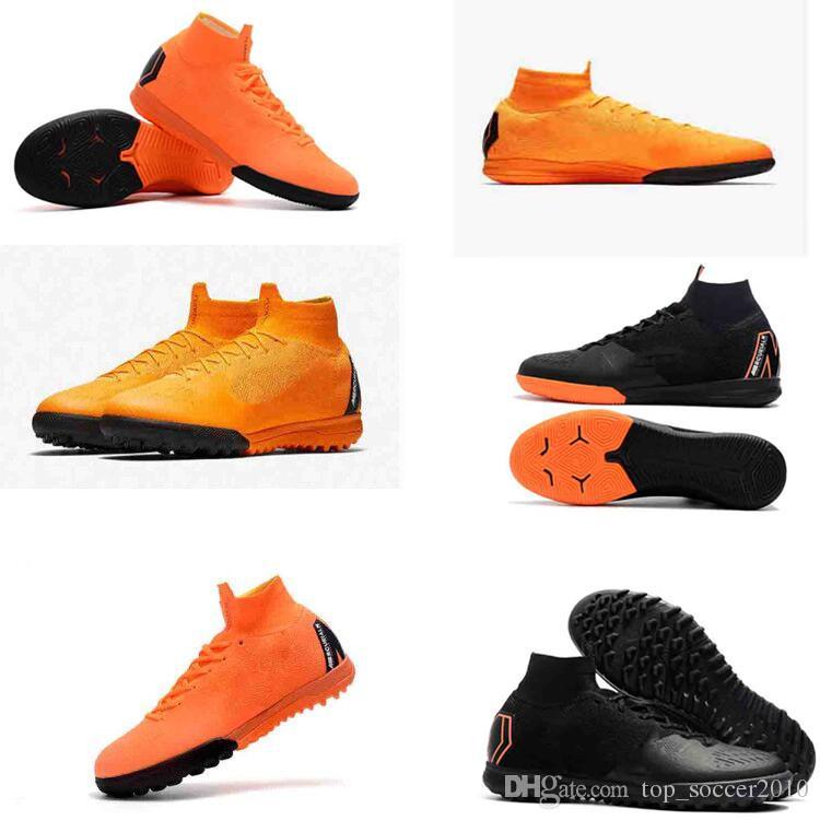 2018 zapatos de fútbol para hombre niños SuperflyX 6 Elite TF zapatos de fútbol mercurial superfly cr7 niños botas de fútbol magista obra ronaldo
