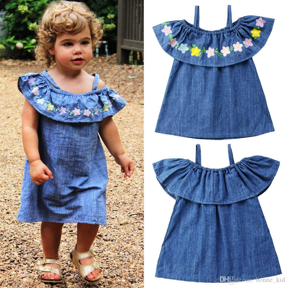 bba24b102b04 2019 Kids Baby Girls Off Shoulder Flower Denim Dress Suspender Princess  Dress Vestido Children Girl Clothes Sundress Kid Clothing 1 5T From  Bonne_kid, ...