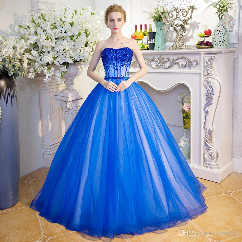 Elegant Girls Strapless Floor Length Prom Dresses With Beading Blue Puffy Tulle Long Dresses For Prom Evening A-Line Sequined Party Dresses