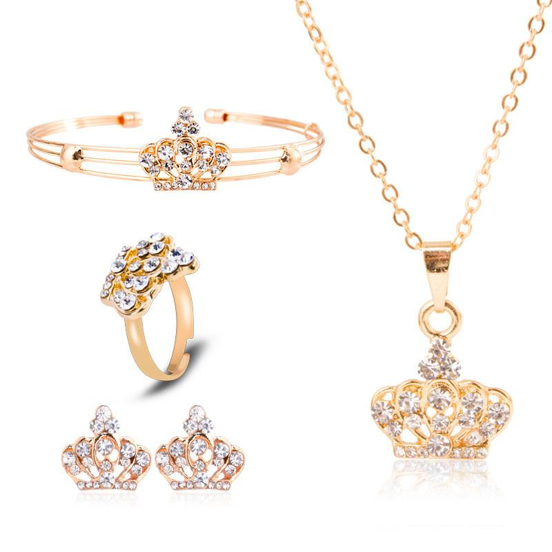H:HYDE New Arrival Chic Style Geometric Shape Classic Wedding Jewelry Sets Necklaces Bangle Earing Ring Sets Alloy Party Jewelry