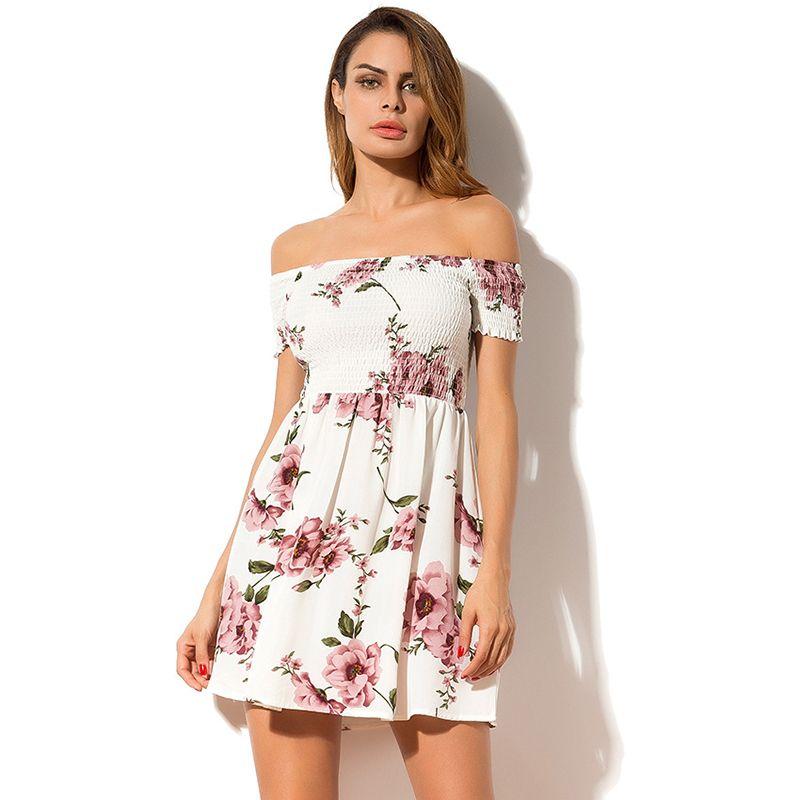 c7204e3749f3 2018 Summer Women Dress Elegant Fashion Bohemian Beach Dress Off Shoulder  Floral Print Backless Short Sleeve Chiffon Mini Dress Prom Gown Buy Dresses  From ...