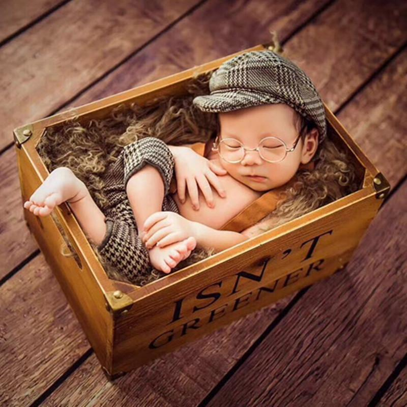 9bfbf3bc9 Infant Baby Boy Casquette Cap Little Gentleman Outfit Newborn Photography  Props Newborn Plaid Costume Baby Photoshoot Accessorie