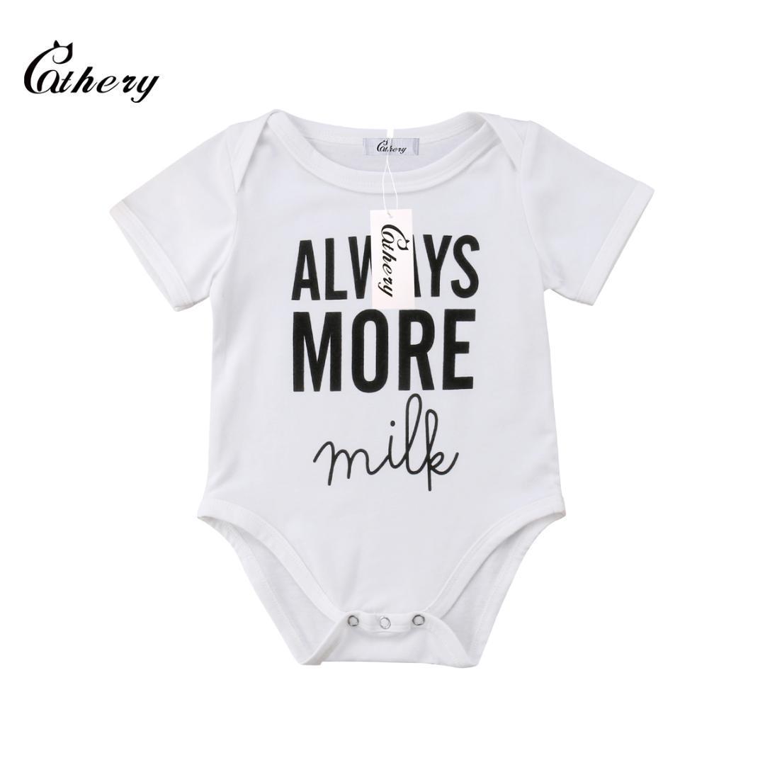 ed80fee06853f Bebê recém-nascido menina menino sempre mais leite Romper Bodysuit  Babygrows Playsuit
