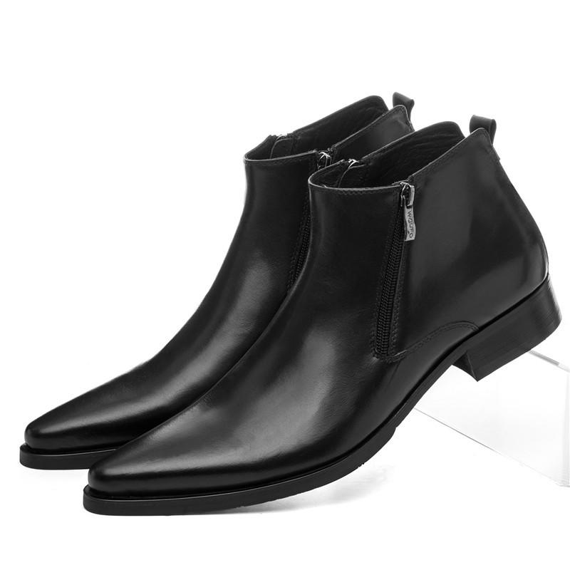 ab1f278d3a6 Large Size EUR46 Wool Insole Winter Black Warm Mens Ankle Boots Dress Shoes  Genuine Leather Pointed Toe Man Business Shoes