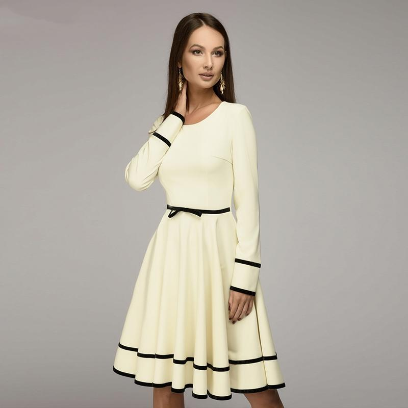 886d203938f625 Großhandel Frauen Einfache A Linie Kleid 2018 Frühling Sommer O Ausschnitt  Langarm Knielangen Kleid Frauen Casual Solid Von Lw900806, $32.07 Auf  De.Dhgate.