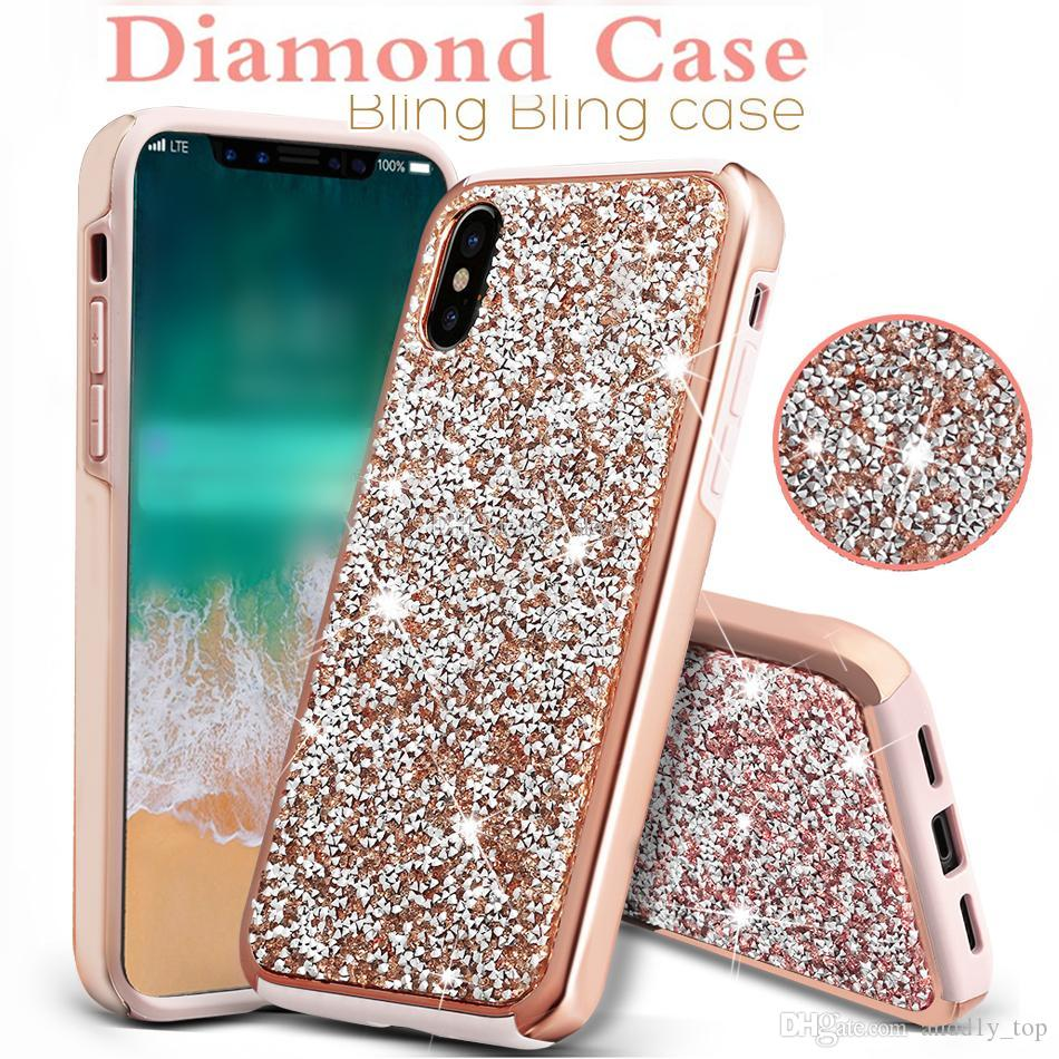 first rate 4838b 26e85 Diamond Case For iPhone XS Max XR 8 Samsung Galaxy S9 Plus Premium Bling 2  in 1 Luxury Diamond Case Glitter Cases