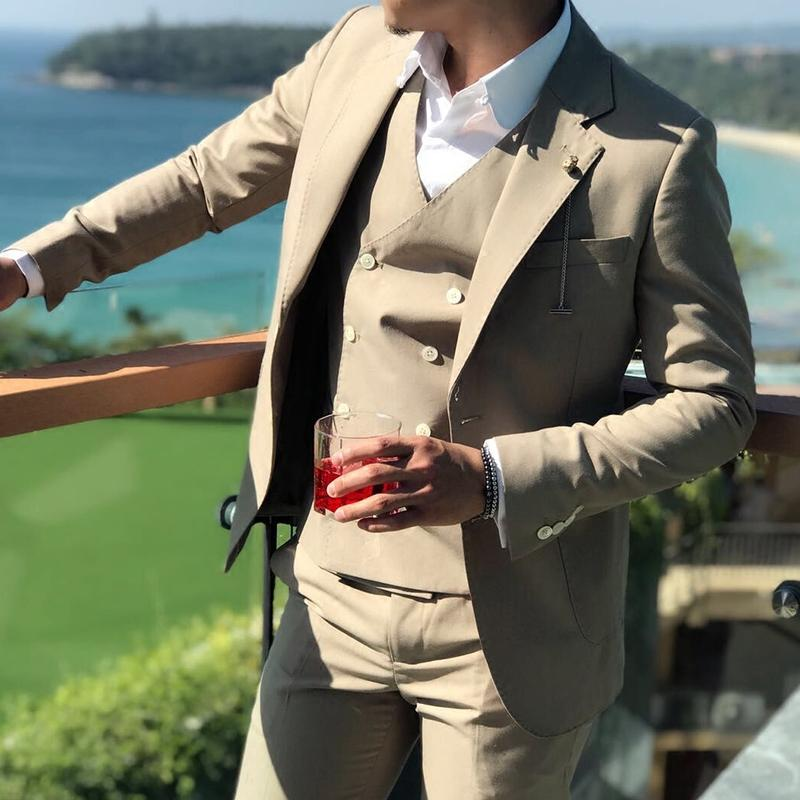 Khaki high quality men's wedding groom dress prom casual set decoration body custom 3 piece jacket vest pants