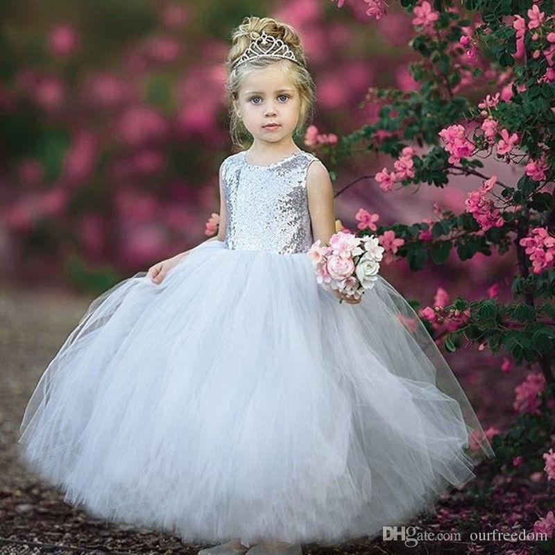 8b76850b5c56 2018 Cute Flower Girls Dresses Silver Sequins Ball Gown Puffy Tulle ...