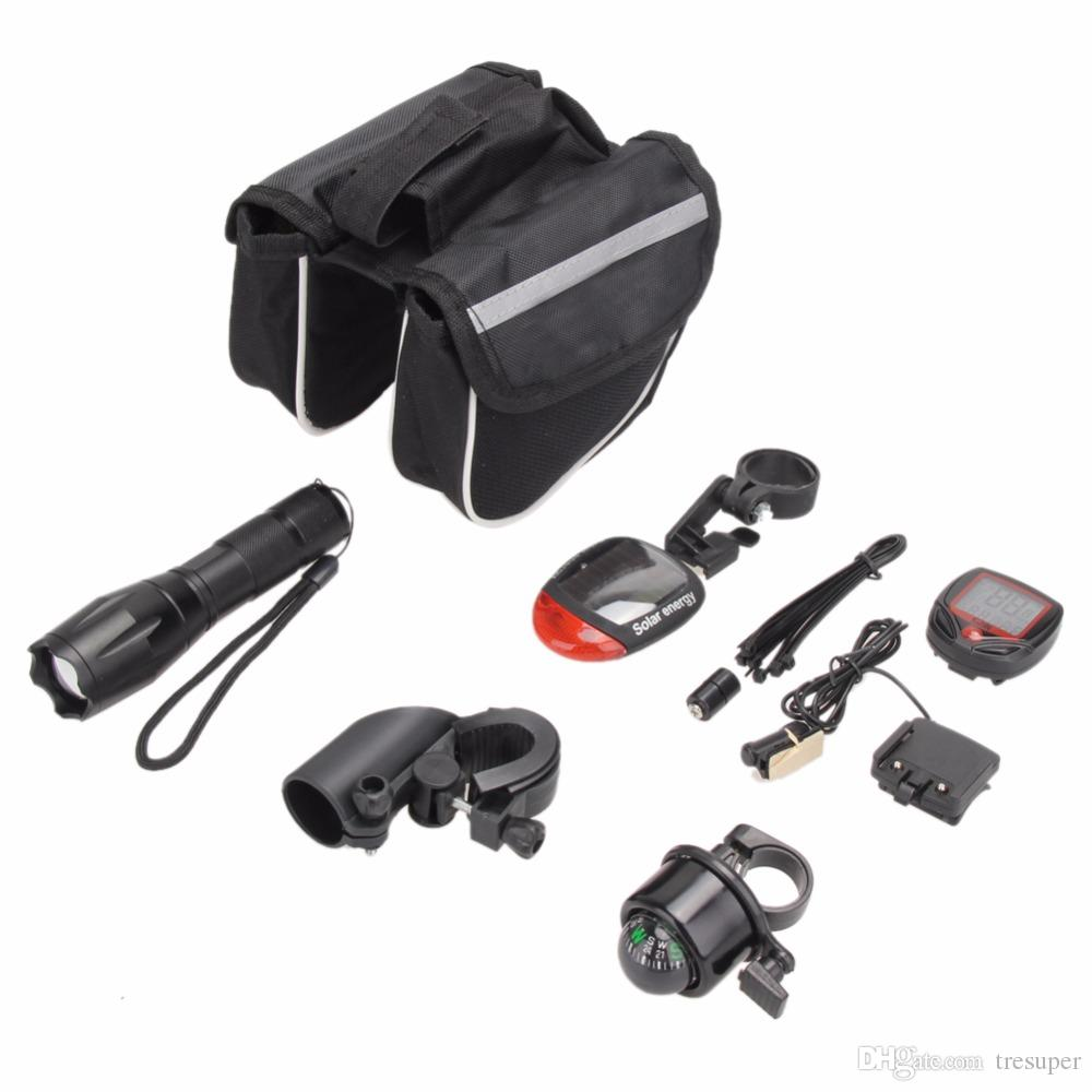 Cycling Bicycle Light Set Kit Bike Flashlight+Bicycle Rear Tail Lights+Stopwatch+Bike Tube Bag+Bell+Bracket Accessories 2018 New