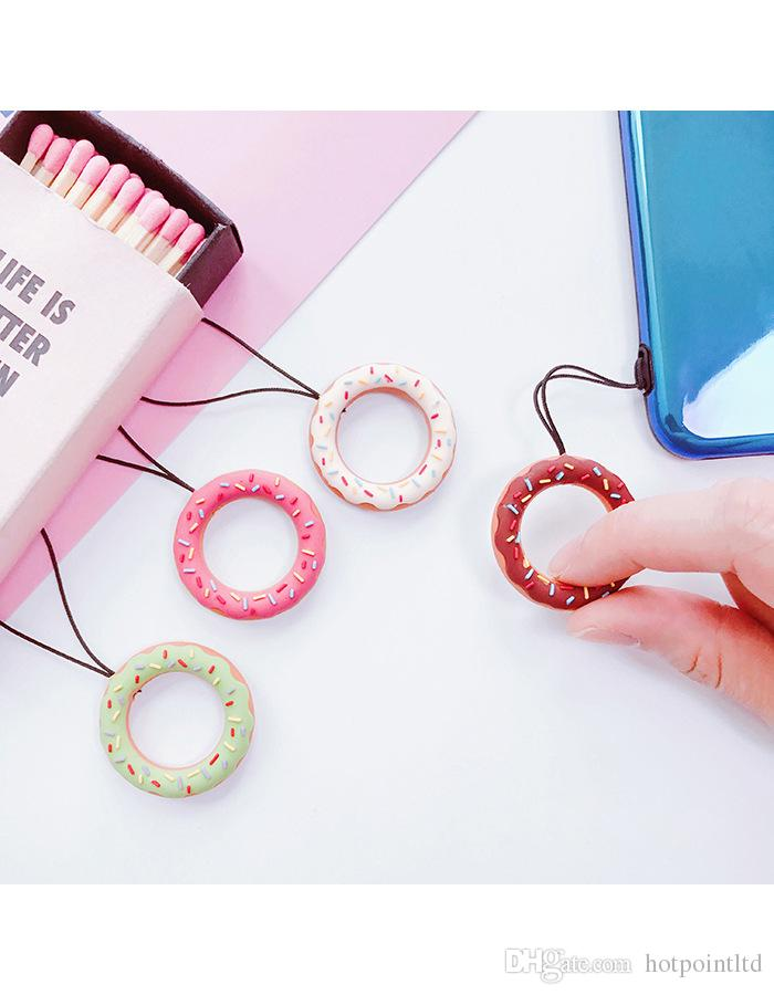 Cute cartoon phone strap Silicone Pendant Mobile Phone Straps ring strap for iPhone Decoration Charm for cellphone Doughnut pattern