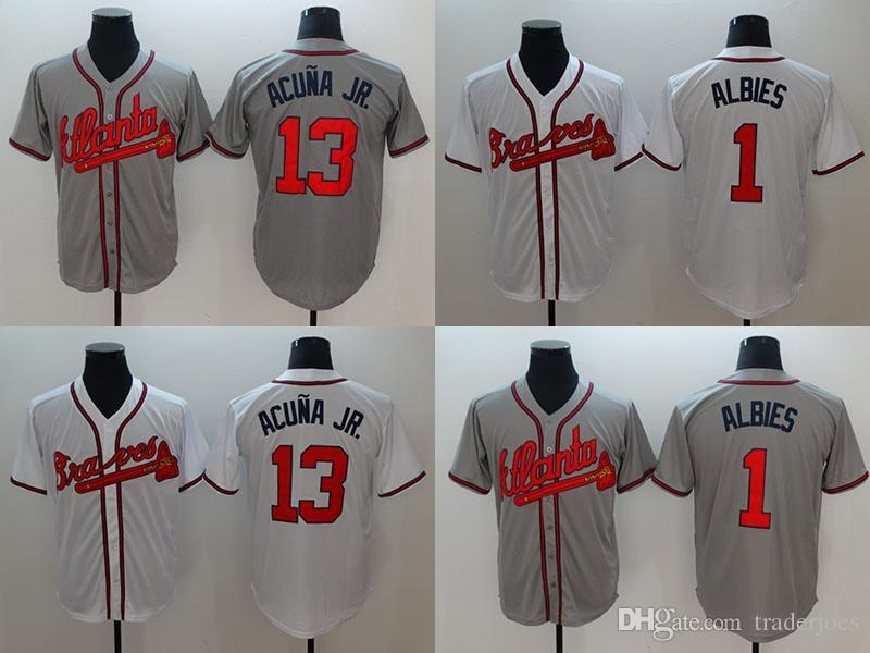 49f98c86 2019 2018 Mens Cool Base Baseball Jersey #13 Ronald Acuña Jr. #1 Ozzie  Albies Grey White Size M 3XL From Traderjoes, $37.92 | DHgate.Com