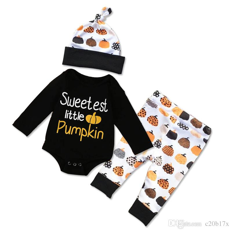dc1750f2 2019 Fashion Snug Three Piece Long Sleeve Crew Neck Baby Jumpers Trousers  Pumpkin Pattern Tax Stamp 0 24 Months Boy Clothing Sets FMG8802 2 From  C20b17x, ...