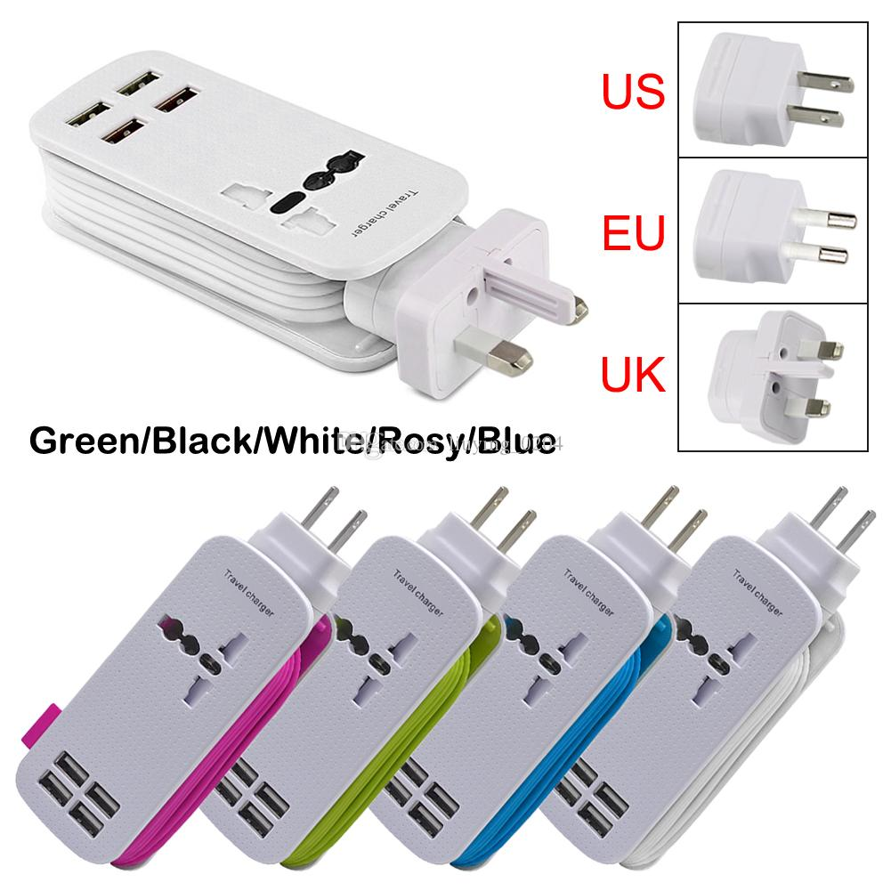 Eu Uk Us Plug 4 Ports Multiple Wall Usb Charger 5v 4.2a Smart Adapter  Mobile Phone Charging Data Device For Iphone Ipad Charging Pad Wireless  Charging Pad ...