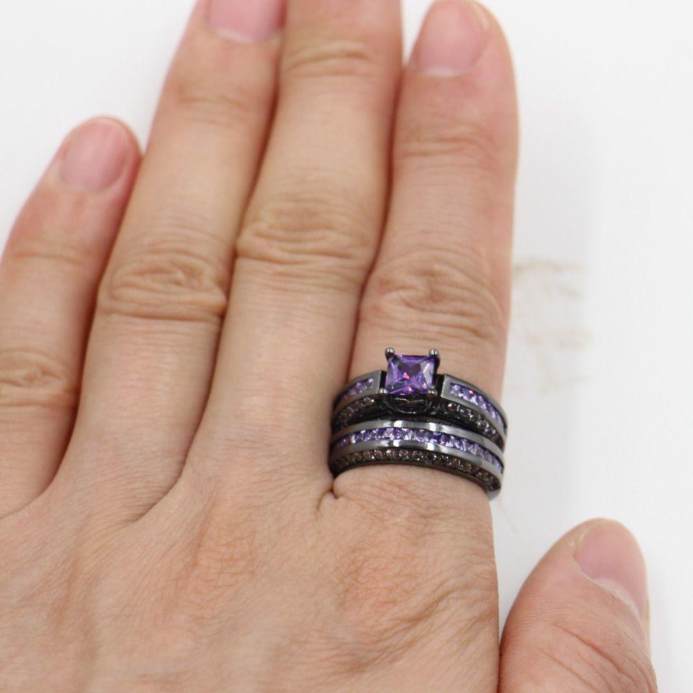Victoria Wieck es anillos de la boda Conjunto para las mujeres Zircon piedra Cz 10KT Negro Gold Filled Anillo de aniversario femenino