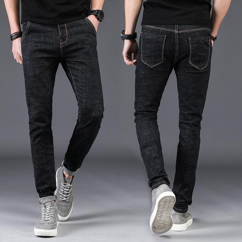 En Fit Jean Droites Régulières Hommes Denim Pantalons Marque Slim Jeans Noir Gros Casual Stretch Vente Vêtements xCoBde