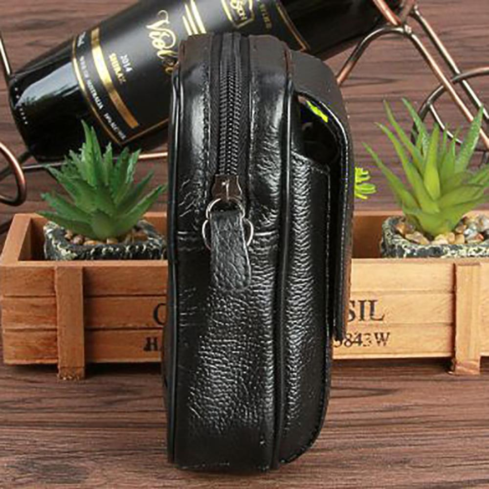 Genuine Leather Cowhide Travel Messenger Shoulder Bag Men Cross Body Pack Mobile Phone Case Purse Belt Hip Bum Fanny Waist Bag
