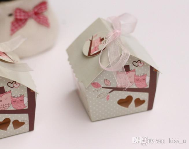 New Hollow Small Bird Carton Super Cute Mini House Sweet Wedding Candy Box Party Favor Gift Box With Ribbon And Card