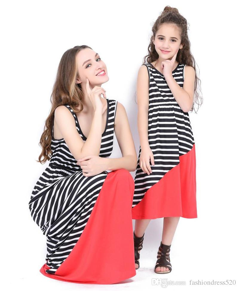 331b68e3da13 Family Look Dress Mother Daughter Long Dresses Striped Patchwork Sleeveless  Mommy And Me Dress Mother And Daughter Clothes Suits Mother And Daughter  Outfits ...