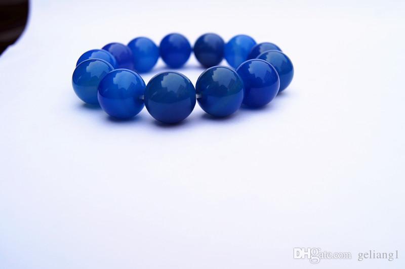 Perles en agate verte naturelle faites à la main, 15,7 mm, 13 perles. L'élastique forme un charmant bracelet