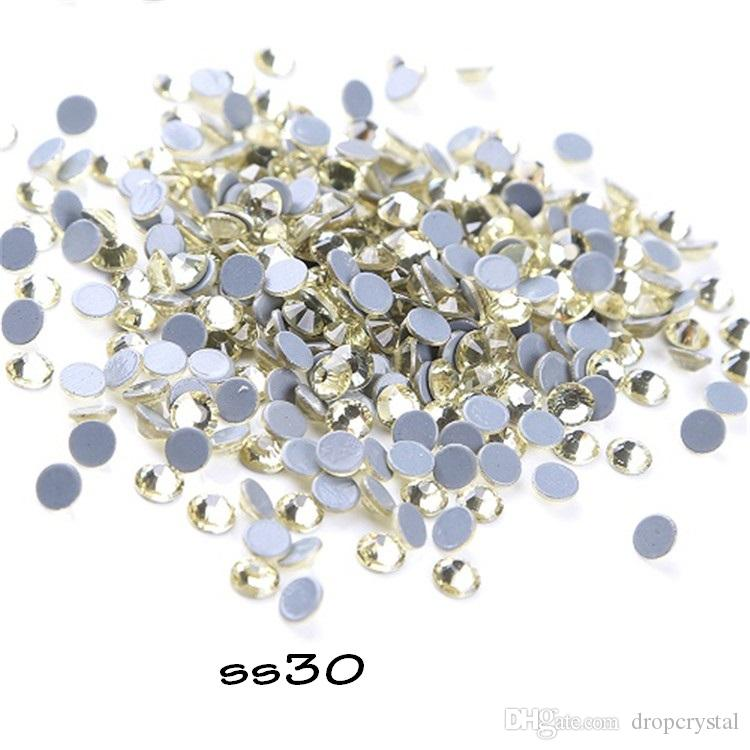 065f5d3437 Ss30 288 Pieces Jonquil Hotfix Rhinestones Crystal Stones Thermal Adhesive  Wedding Dress Glitter Gems Strass For Clothes Motif Designs