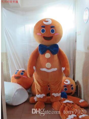 Yeni Yetişkin Sevimli MARKA Karikatür Gingerbread Man Maskot Kostüm Fantezi Elbise Sıcak Satış Parti kostüm Ücretsiz Gemi